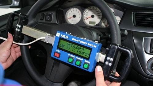 Измерение суммарного люфта в рулевом управлении